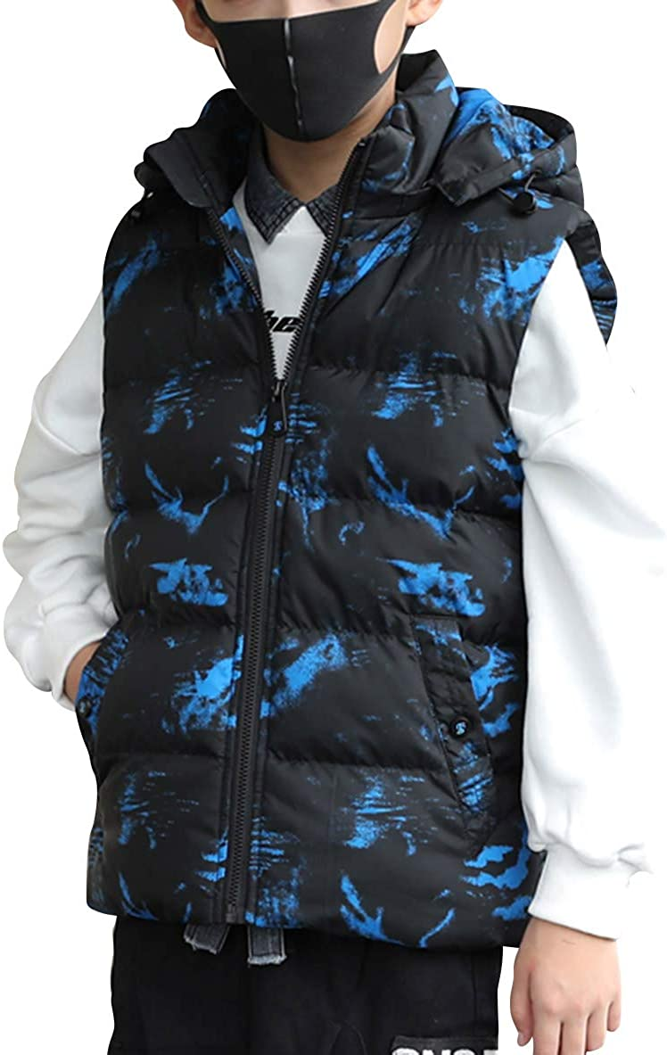 LAUSONS Boys Camouflage Gilet Sleeveless Padded Coat Winter Body Warmers with Removable Hood