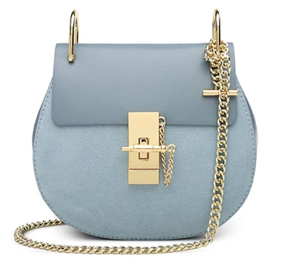 Suede bluee Women's Genuine Leather Handbags Chain Lady Shoulder Bag By JiYe