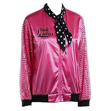 464dcf1332 Fiaya Women s 1950s Retro Sequin Sleeve Pink Ladies Satin Jacket Coat  Greaser Costume Neck Scarf (