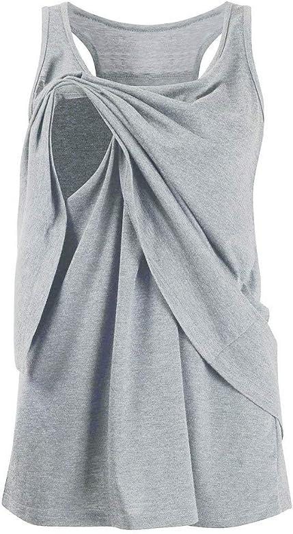 STRIR-Ropa premamá Camiseta de Lactancia Maternidad para Mujer Primavera Verano Camisa Sin Mangas Chaleco Amamantar Grande Blusa Mujeres Suelto Embarazadas EnfermeríA Tops (S, Gris): Amazon.es: Ropa y accesorios
