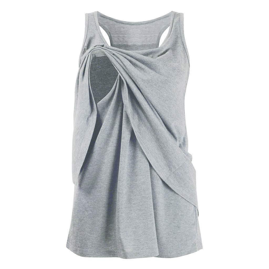 Pregnant Sleeveless T-Shirt,Women's Maternity Nursing Wrap Double Layer Sleeveless Blouse T Shirt,Women's Clothing,Army Green,S