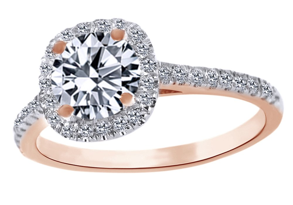 White Cubic Zirconia Wedding Engagement Ring In 14k Solid Rose Gold (2 Cttw) Ring Size - 7