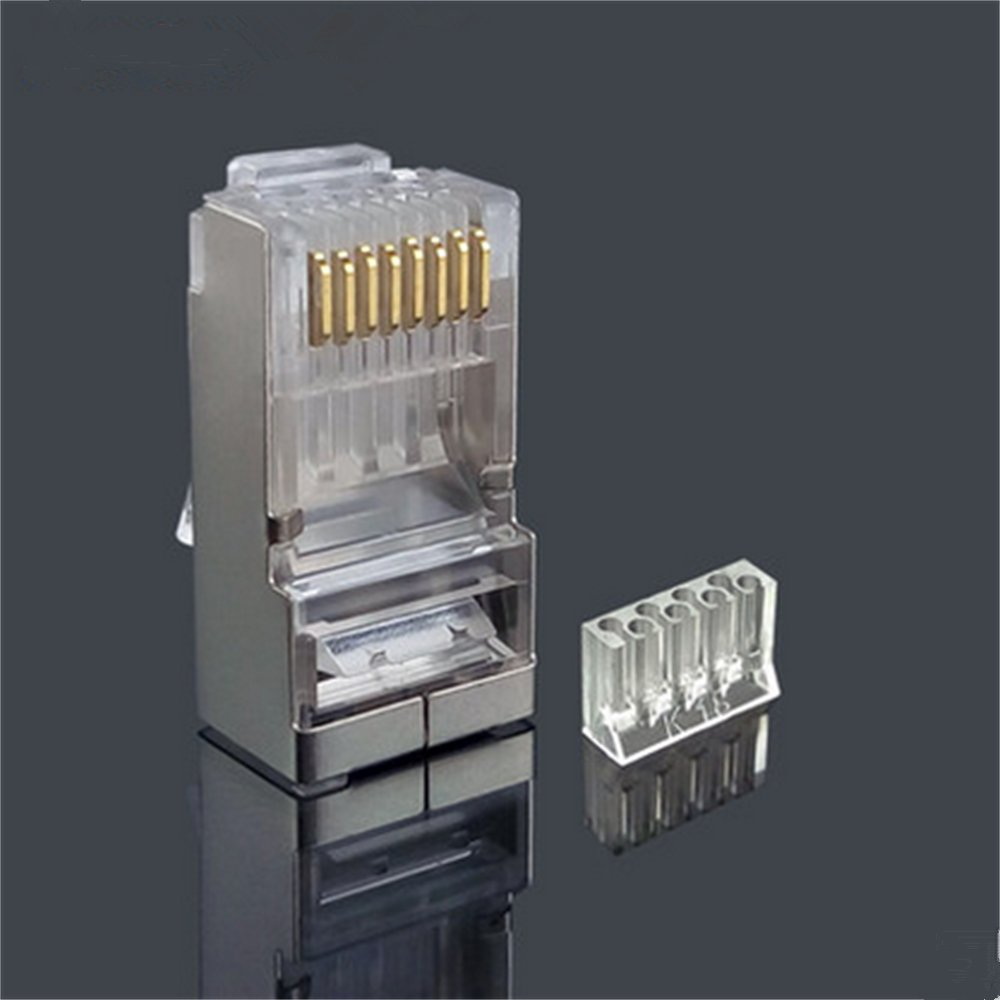 Cat6 2 Piece Metal Shielded Rj45 Plug Connector Ftp 8p8c Modular Philex Cat5e Wiring Diagram Network 50set 2pcs Set Computers Accessories