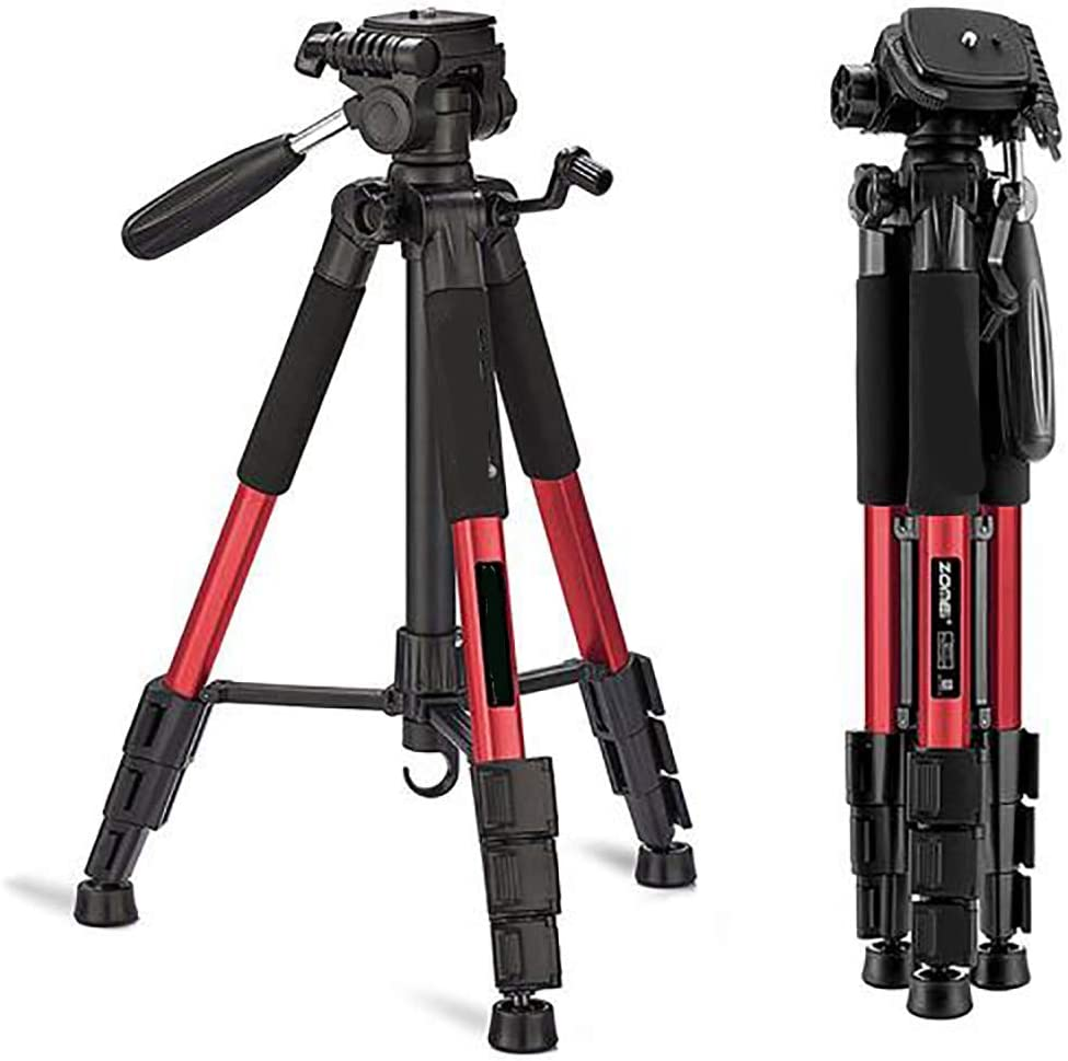 YAMEIJIA 55 Inch Professional Aluminum Camera Tripod Camera Stand for DSLR Canon Red