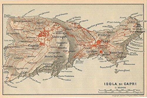 Amazon.com: Isle of Capri Tyrrhenian Sea 1908 detailed antique Italy on