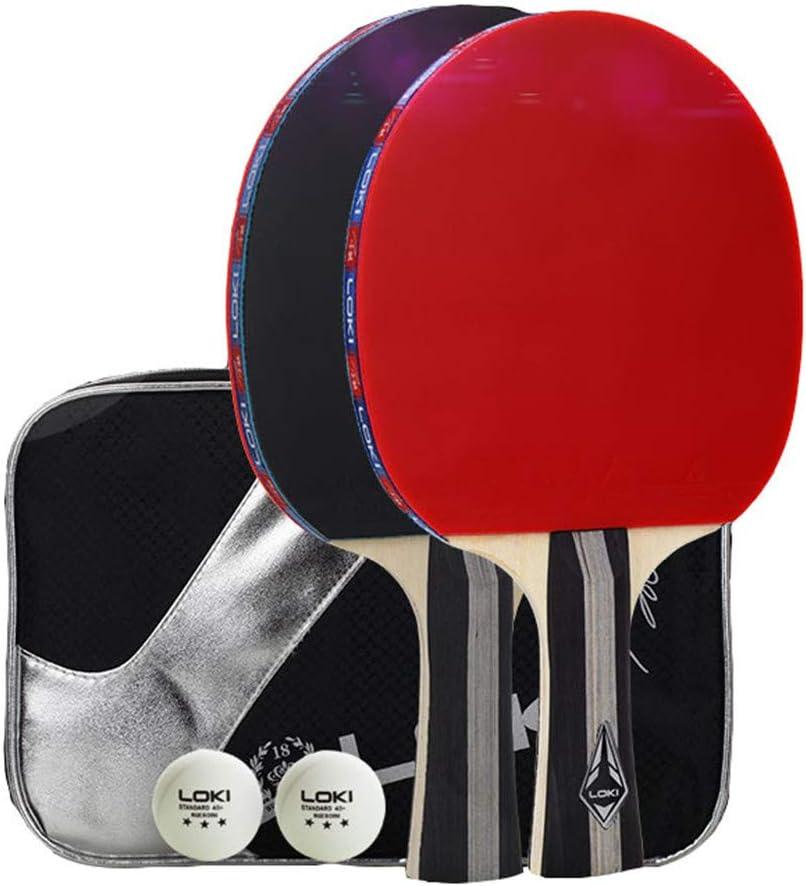 XFQ Conjuntos Mesa De Ping Pong, Raqueta De Ping-Pong Profesión 3 Estrella Tabla 2 Bolas De Ping Pong Portátil para Adultos De Los Niños Juego De Interior Al Aire Libre,Long Handle
