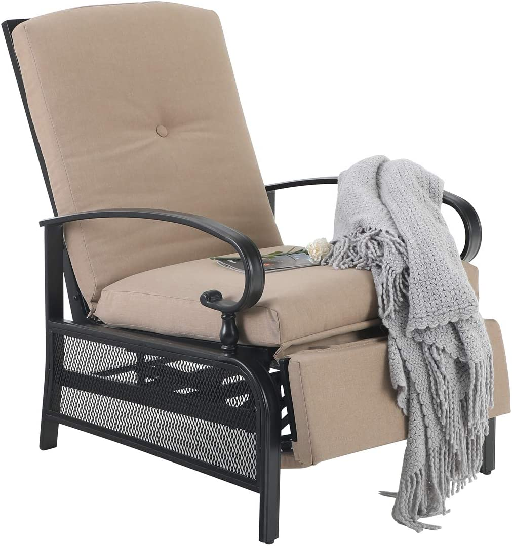 PHI VILLA Patio Adjustable Lounge Chair Outdoor Metal Relaxing Recliner Sofa Chair with with 5 Removable Cushions, Beige