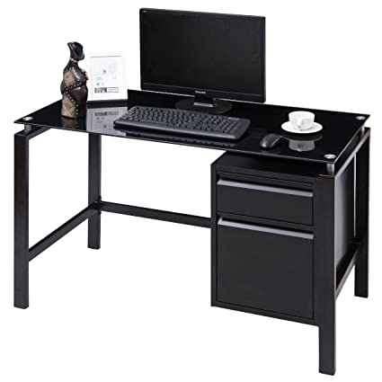 outlet store 2634b 09e9f Amazon.com: Glass Top Metal Frame Computer Desk w/Drawers ...