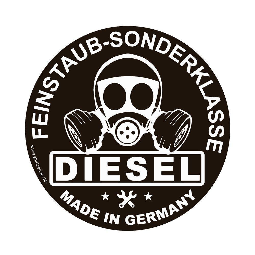 Shirtzshop Feinstaub Sonderplakette Diesel Made IN Germany Umweltplakette Aufkleber Autoaufkleber Sticker Vinylaufkleber Decal Carstyle