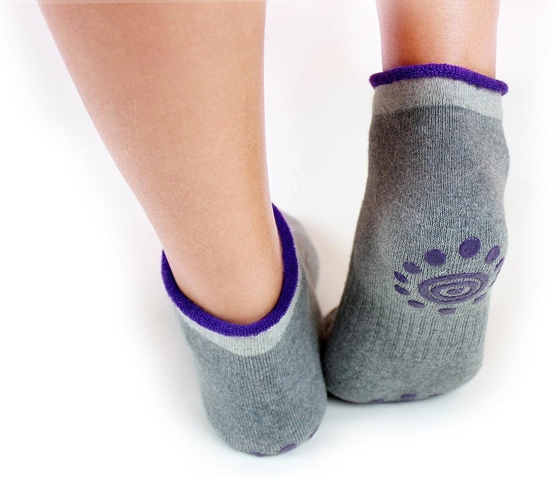 EUBUY Women Lady 4 Pairs Autumn Winter Cotton Non Slip Yoga Pilates Socks With Grips