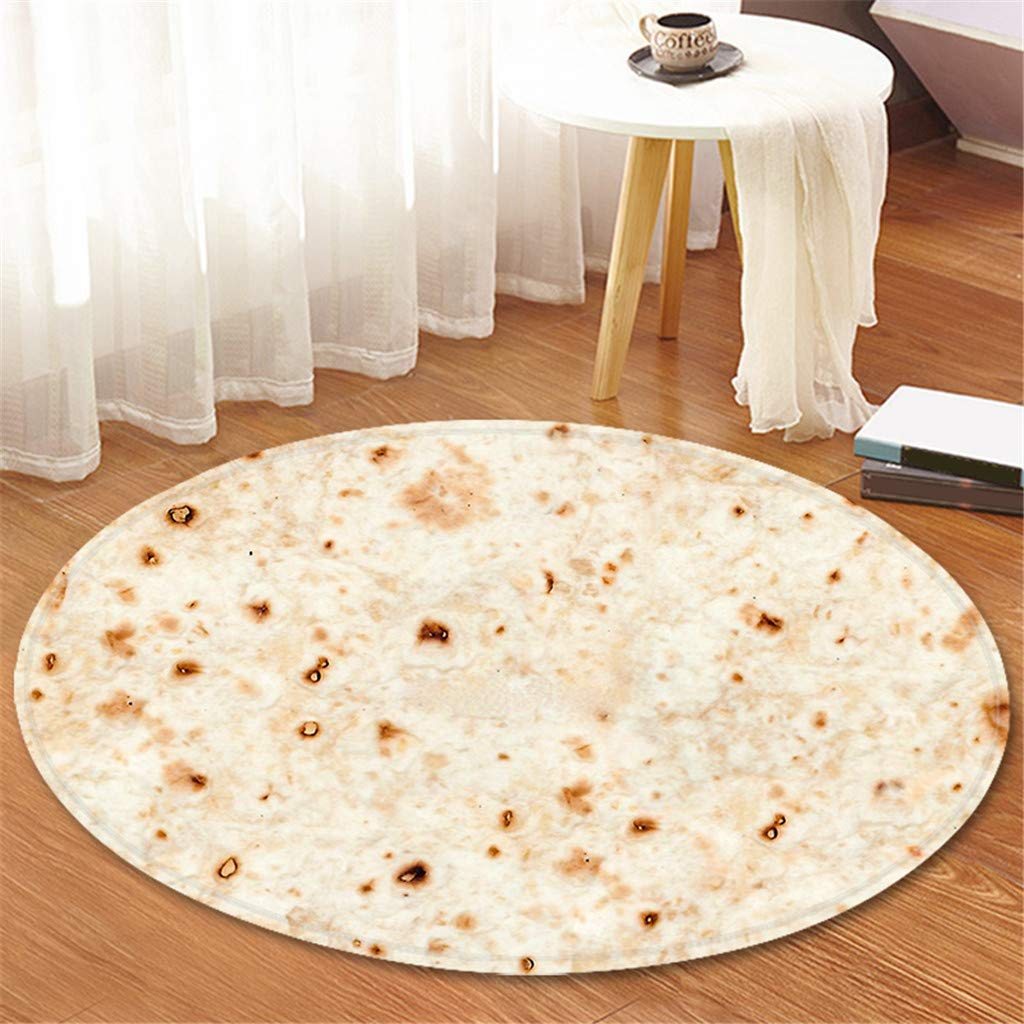 Just 60cm Anti Slip Comfort Food Creations Burrito Wrap Blanket Round Bathroom Carpet Tortilla Blanket Decoration For Home Clearance Price Power Source