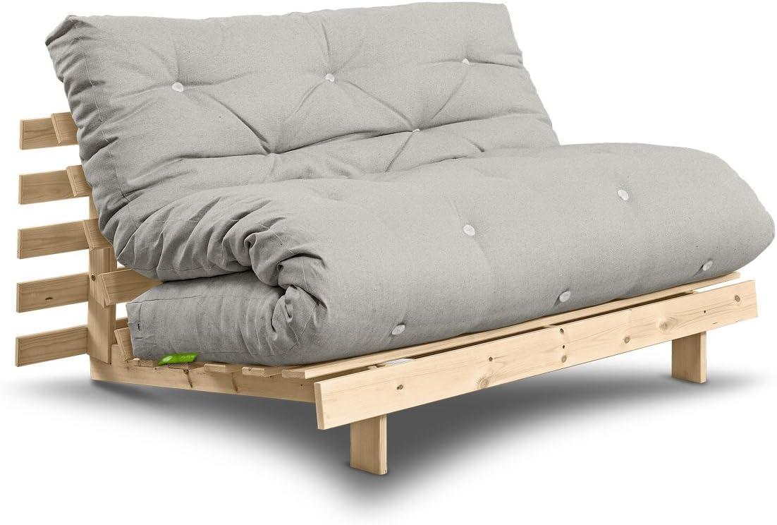 Futon sofá Roots con Futon Comfort 140 x 200 cm, Leinen / Kiefer unbehandelt, 140 x 200 cm: Amazon.es: Hogar