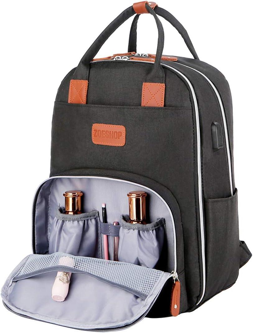 Laptop Backpack,Waterproof Backpack School College Bookbag Travel Bag with USB Charging Por for Men Women Girl,Large Capacity Multifunction Daypack with Multi-pocket-Black