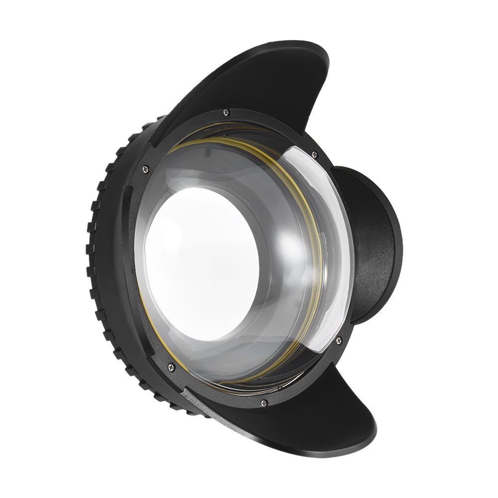 Andeor MEIKON Underwater Camera 200mm Fisheye Wide Angle Lens Dome Port Case Shade Cover 60m/ 197ft Waterproof 67mm Round Adapter for Camera Diving Housing
