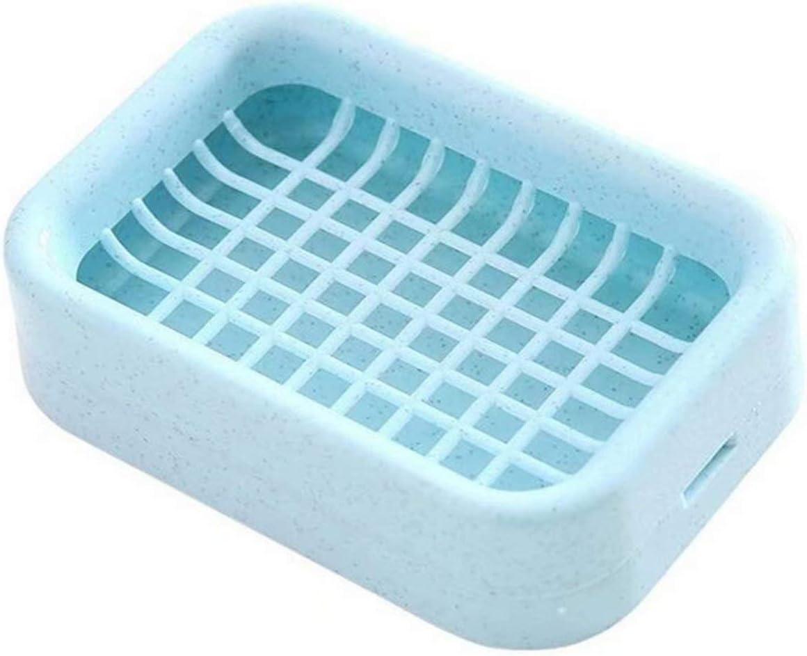 Snner Caja de jabón, jabonera de plástico Bandeja de jabón de Rejilla de Doble Capa con Orificio de Drenaje Azul