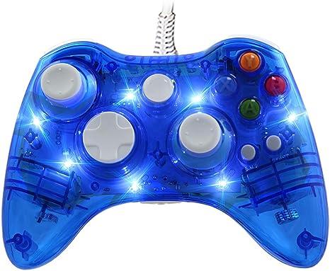 Mando Con Cable Afterglow para Xbox 360, WeJoy Mando con DualShock y 7 LED para Xbox 360/PC/Windows XP/7/8/8.1/10/Vista: Amazon.es: Videojuegos