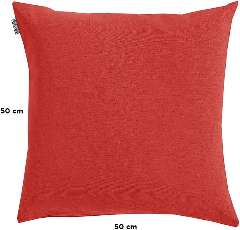 Coton 40 x 40 cm LINUM Annabell Housse de Coussin Ecru