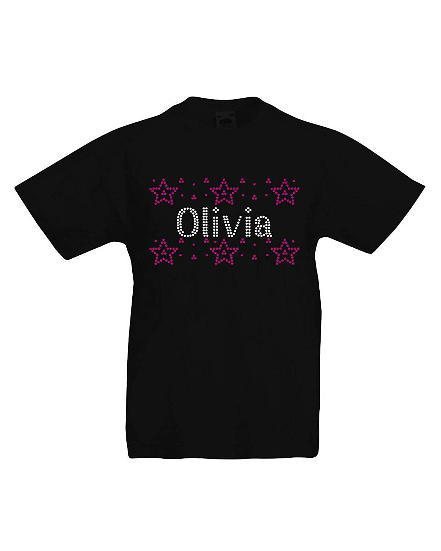 Varsany Girls Crystallized Personalised Stars T-Shirts Super Soft Cute Dance Kids Birthday Gift Summer Top K