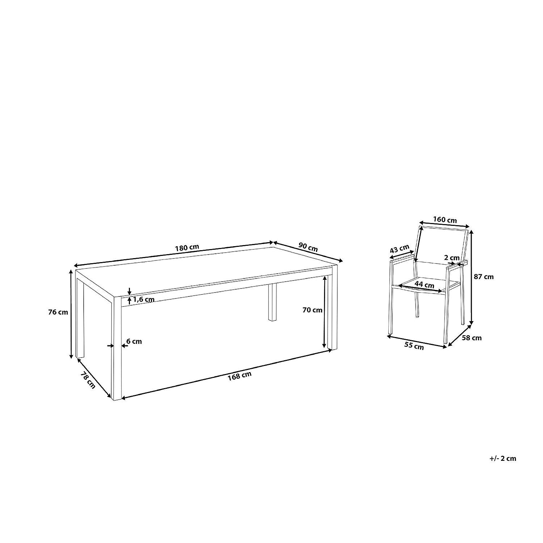 Jardín mesa y sillas - juego de comedor 6 plazas - negro tapa de cristal - Sillas De Ratán - GROSSETO: Beliani: Amazon.es: Hogar