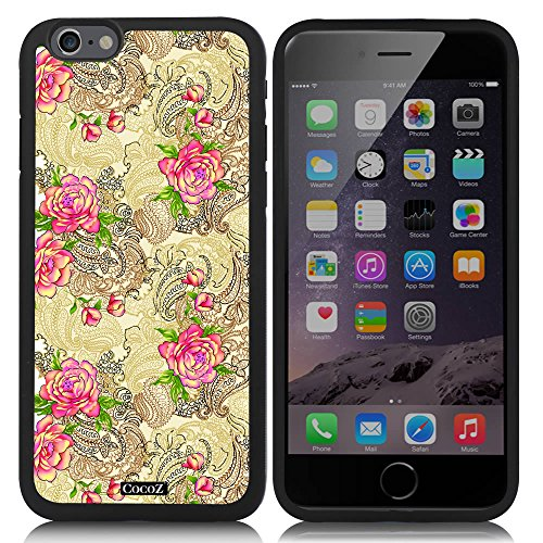 Zoom Amplifier (New Apple iPhone 6 s 4.7-inch CocoZ® Case Beautiful Rose pattern TUP Material Case (Black TPU& Rose Flowers 32))