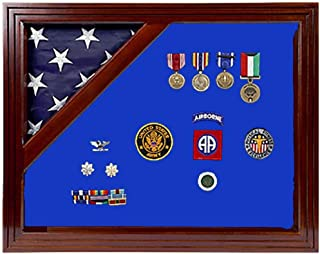 product image for Military Award Shadow Box with Display Case for 3 x 5ft Flag - Felt in Black or Blue
