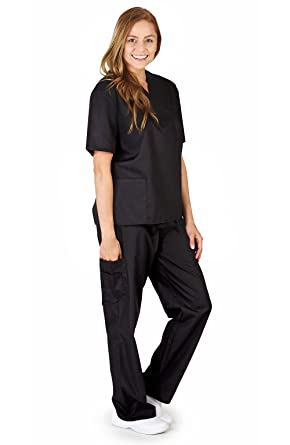 3b6ddef3b7f PETITE NATURAL UNIFORMS Women Scrub Set Medical Scrub Top and Pants XS Black