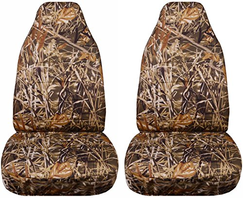 Camouflage Car Seat Covers: Wetland Camo - Universal Fit - Front - Buckets - Option for Airbag, Seat Belt, Armrest & Seat Release/Lever Compatible (22 Prints)