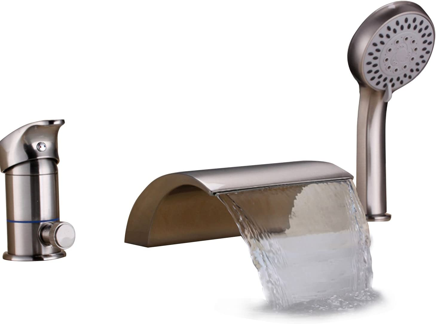 Lovedima Bathroom Waterfall Roman Tub Filler Faucets Handshower Valve Set (Brushed Nickel)
