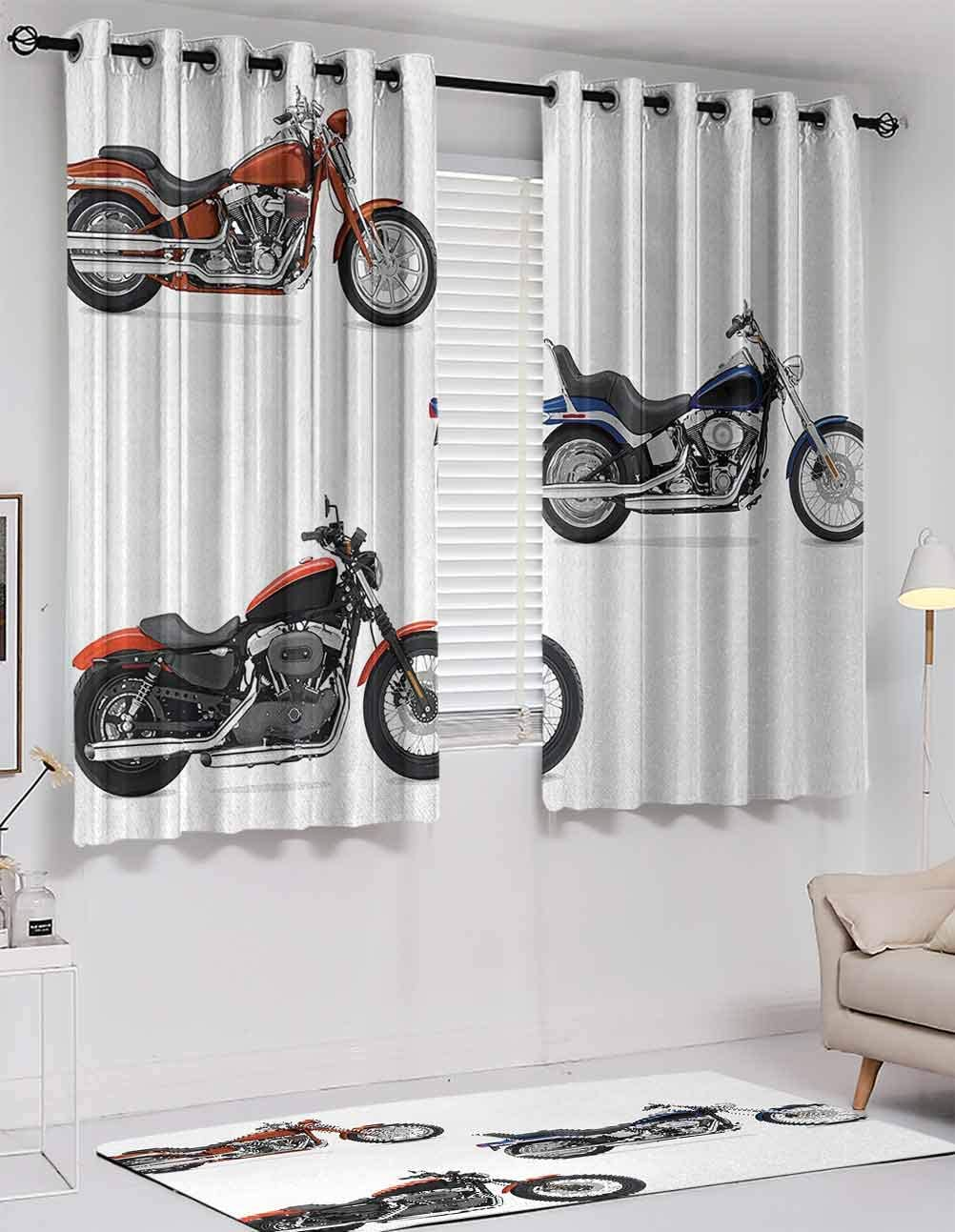 Shading Insulated curtains Modern Pattern Motorcycle curtain for houseroom, Illustration of Three Motorcycles Freedom Transport Risky Extreme Sports Theme, grommets valances, Orange Black, W72 x L72 I