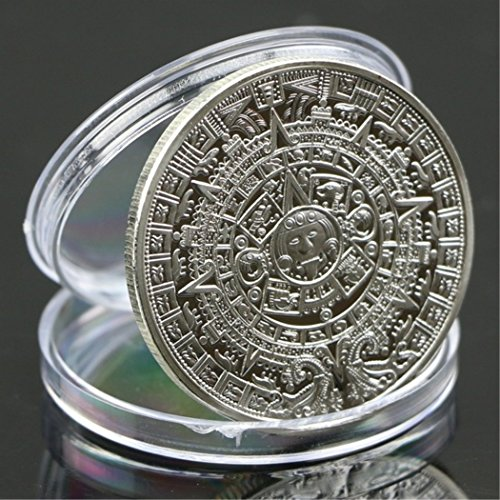 QiQiFanFan Silver Plated Mayan Aztec Calendar Souvenir Commemorative Coin Collection Silver