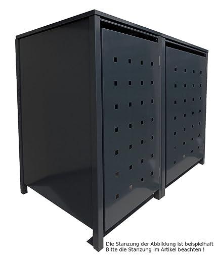 Mülltonnenboxen für 2 Tonnen je 120 Liter mit Klappdeckel in Silber Stanzung  1