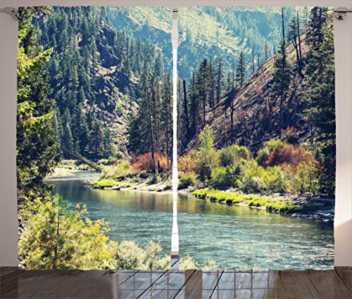 Ambesonne Lake House Decor Collection, Scenic Mountain with Pine Trees and Flowing River Colorful Foliage Daytime Sunshine Nature, Living Room Bedroom Curtain 2 Panels Set, 108 X 84 Inches, Multi (Living Pine Room)