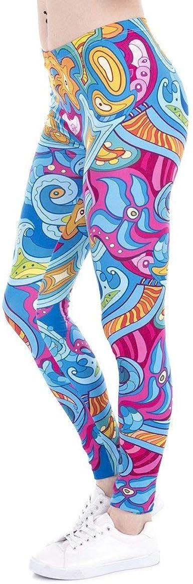 ADELINA Pantalones De Yoga Mujer Seaflowers Leggings Moda Marca Imprimir Gatos Moda Completi Legging De Fitness Cintura Alta Estiramiento Pantalones De Mujer (Color : Lga43862, Size : One Size): Amazon.es: Ropa y