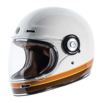 28c6c19c Amazon.com: TORC Unisex-Adult T102ISO23 Retro Fiberglass Full-Face Style  Motorcycle Helmet with Graphic (ISO Bars Gloss White, Medium), 1 Pack:  Automotive