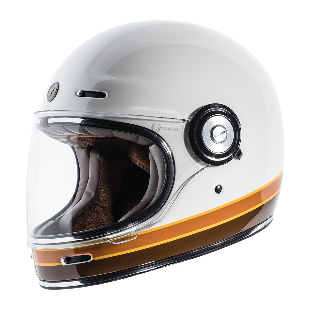 TORC Unisex-Adult T102ISO21 Retro Fiberglass Full-Face Style Motorcycle Helmet with Graphic (ISO Bars Gloss White, X-Small), 1 Pack by TORC (Image #1)