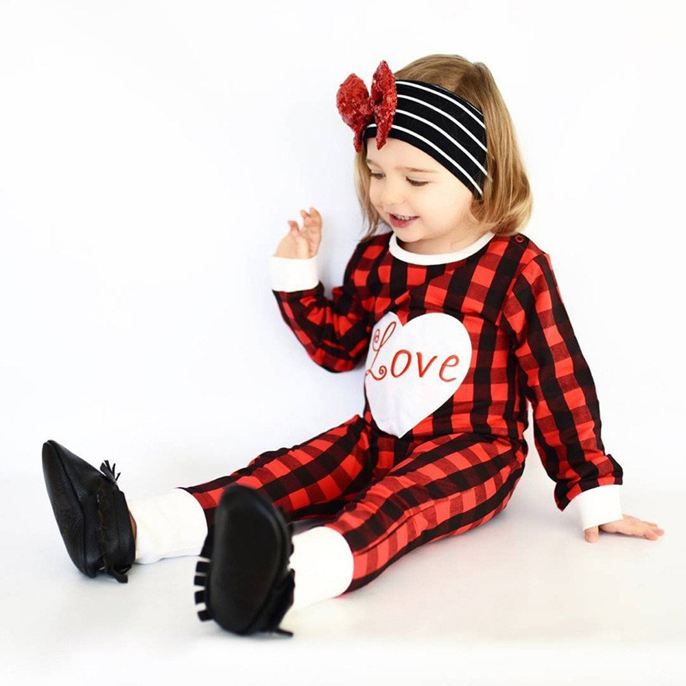 Clearance Sale! Baby Red Plaid Letters Love Robes Romper Onesies Jshuang
