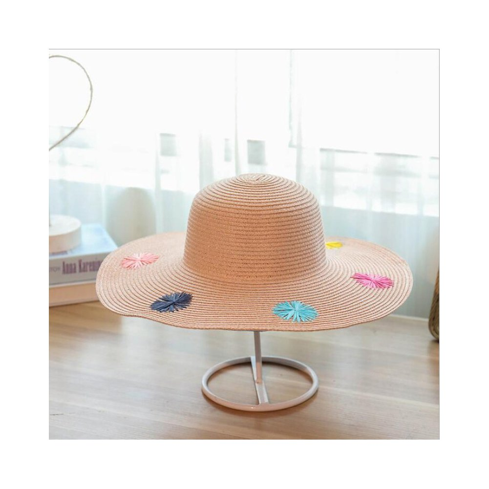 AOBRITON Embroidery Sun Cap Big Brim Ladies Summer Straw Hat Women Shade Beach Travel
