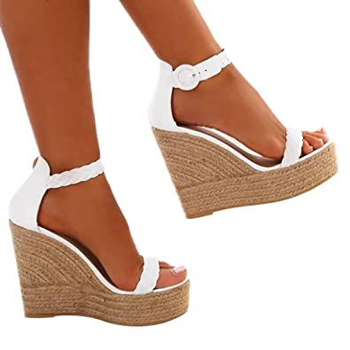 d405936e26fa DOTACOKO Womens Wedges Peep Toe Ankle Strap Buckle Platform Summer High Heel  Sandals White Size