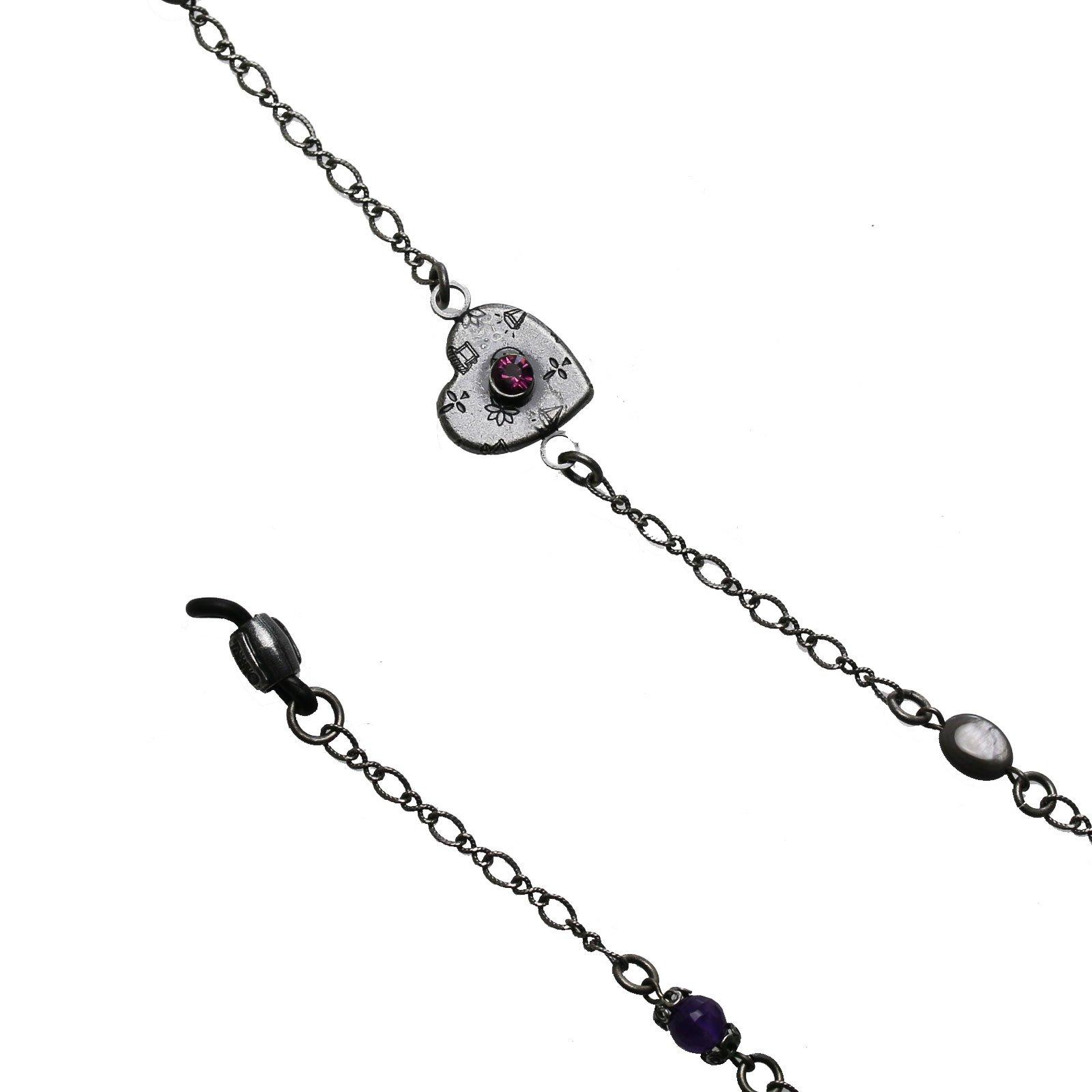 Tamarusan Eyewear Chain Heart Gray Shell Amethyst Unisex Eyeglasses Code by TAMARUSAN (Image #3)