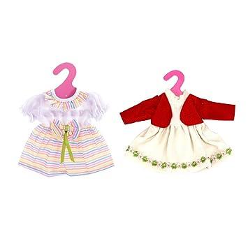 Gazechimp Red Zweiteilige Kleid + Mehrfarbig Puppenkleid mit Bowknot Outfit für 35-40cm Mädchen Puppen