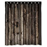 FMSHPON Rustic Old Barn Wood Art Shower Curtain Waterproof Bathroom Decorative Polyester Fabric Shower Curtain Size 60''(w) x 72''(h) Inches