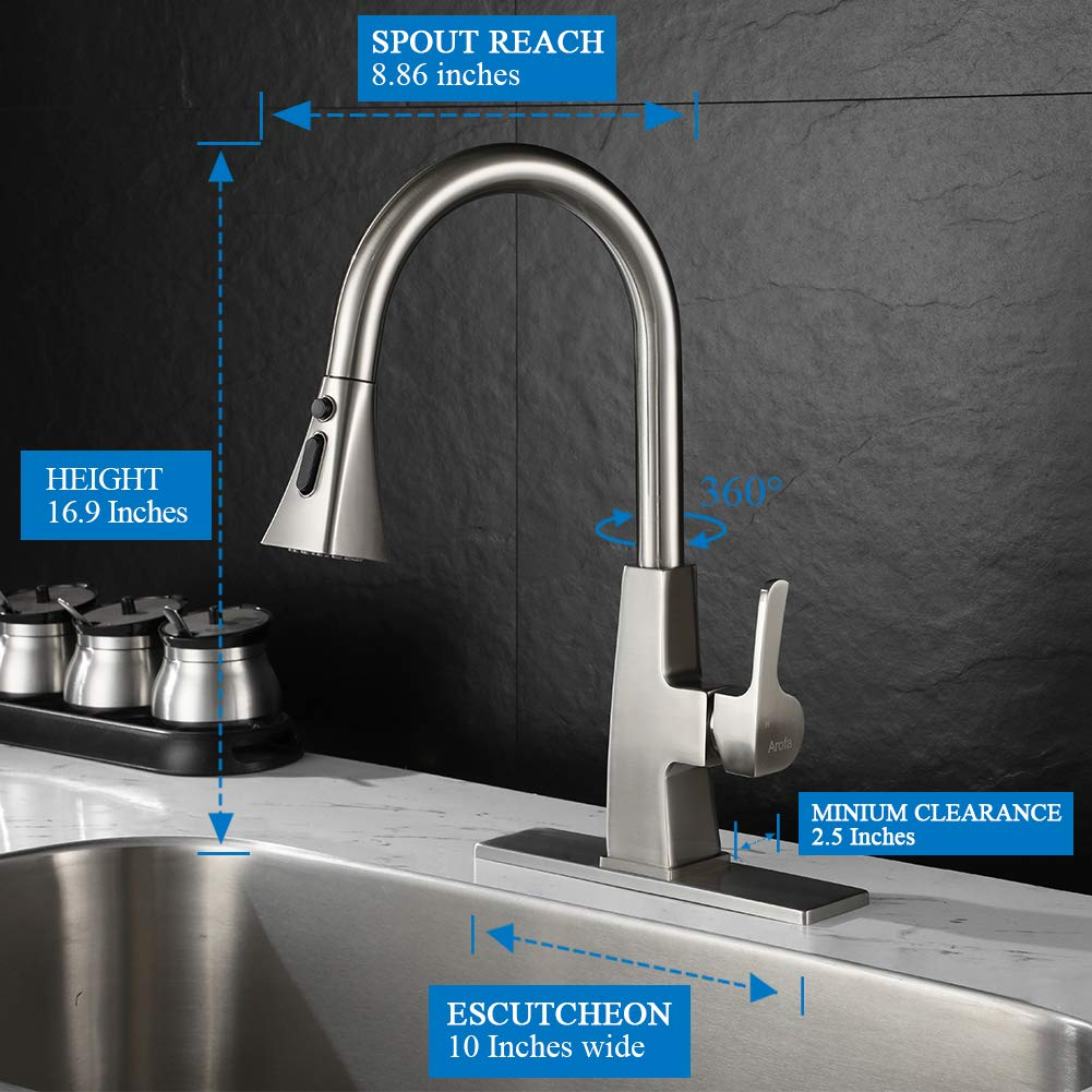 Kitchen sink faucet-Arofa A03LY single handle brushed nickel stainless steel gooseneck kitchen faucets with pull down sprayer by Arofa (Image #2)