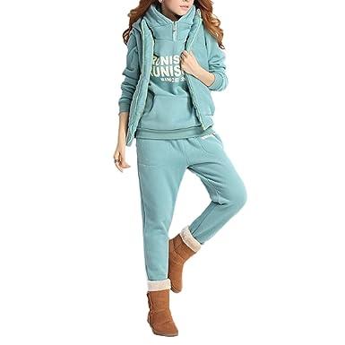 QQI Femmes Survêtement Suit Chaud Manches Longues Pull à Capuche + Gilet +  Pantalon 3Pcs Lettres 96daca8919d