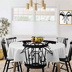 "shirlyhome Video Game Tablecloth Fantastic Creatures Sci fi Theme Fantasy Warrior with Wings Sorcerer Print Decorative Round Tablecloth Black White (Diameter 54"")"
