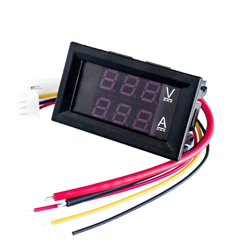 CapsA Digital Voltmeter Ammeter Display DC 100V 10A Voltage Detector Meter Tester Voltmeter Ammeter Detector & Voltage Test line & Current Test line (A)