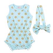 Baby Girl Clothes Gold Dots Bodysuit Romper Jumpsuit One-pieces Outfits Set (0-6 Months, Blue)