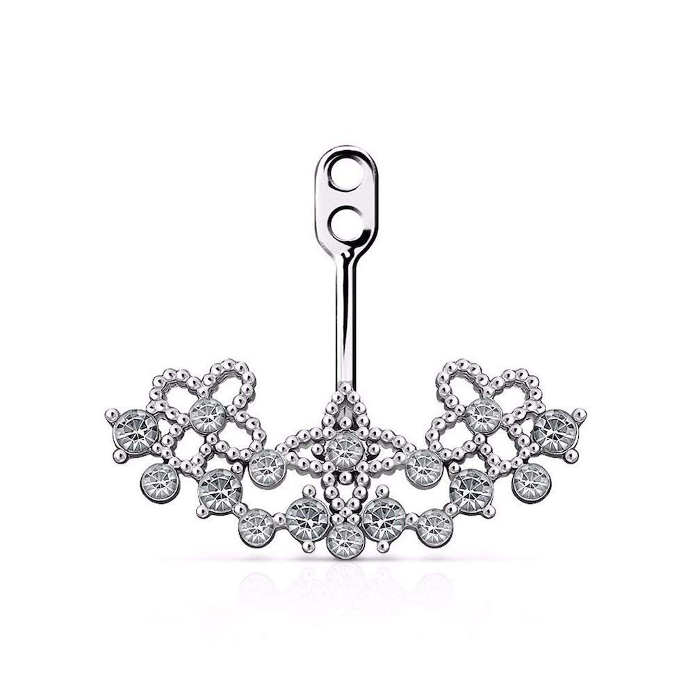 Covet Jewelry Crystal Paved on Floral Filigree Fan Add On Earring/Cartilage Barbell Jacket