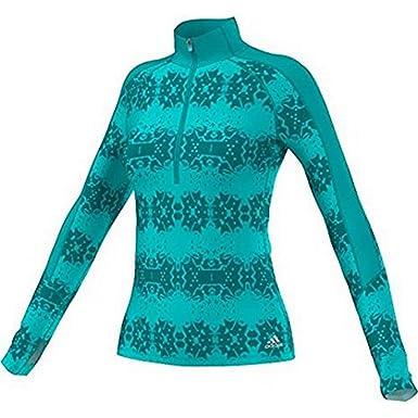 adidas TechFit ClimaWarm 1/2 Zip Damen Sport Shirt Grün Training Top, Farbe: