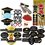 Graduation Photo Booth Props Kit, WEST BAY 51pcs 2018 Graduation Photos Props with 1pc Backdrop, Metallic Tinsel Foil Fringe Curtains, High School College Graduation Party Decoration