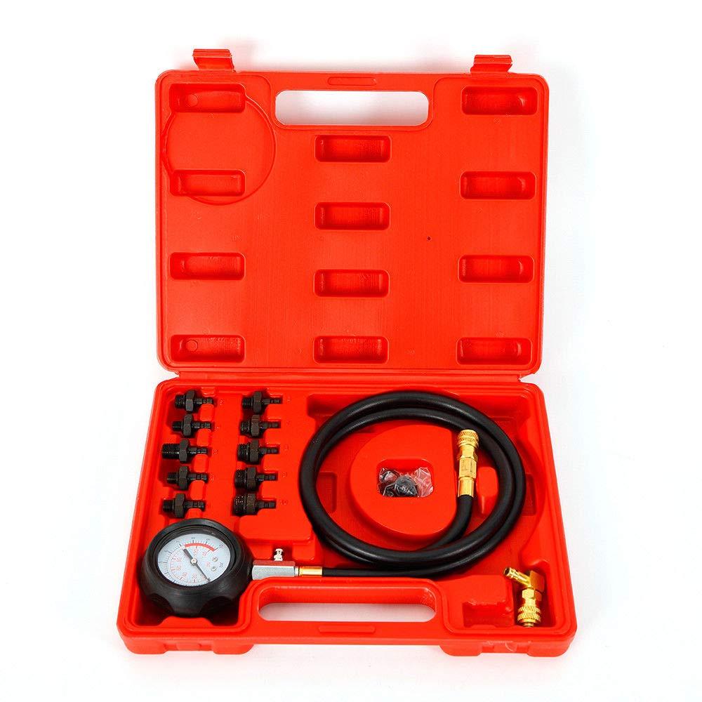 Man/ómetro de presi/ón de Aceite 0-10 Bar Conjunto de probador de presi/ón de aceite Probador de Probador Medidor 0-140PSI